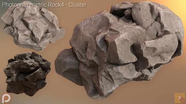 [Free] Photogrammetric Rock 4 - Cluster by Yughues