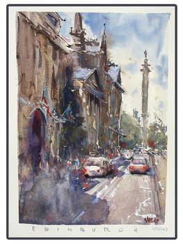 Edinburgh Street - Watercolour by MarcoBucci