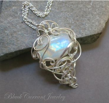 Rainbow in the Sky, moonstone and sterling silver by blackcurrantjewelry