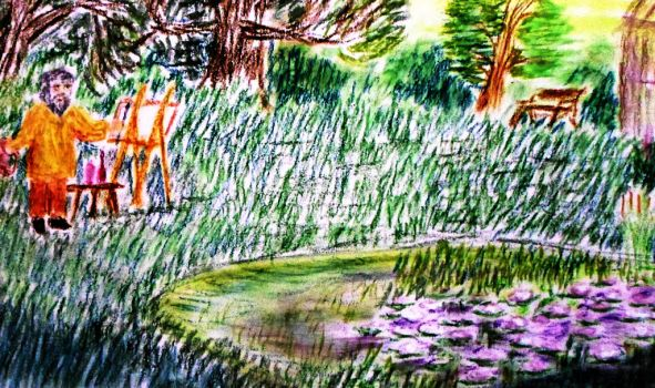 Monet paints lillies by KAY-painting