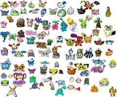 100 Flattened Pokemon by Pikacshu