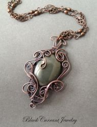 Pyrite and Copper Art Nouveau Pendant by blackcurrantjewelry