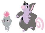 Spoink and Grumpig Base by SelenaEde