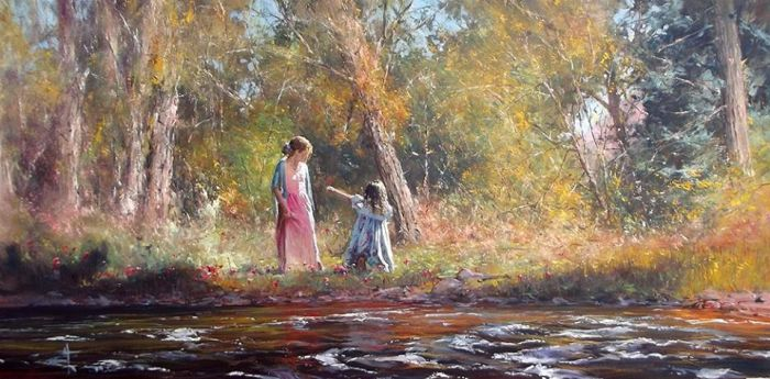 'Helping Hands' - Oil On Canvas by Robert Hagan by robert-hagan