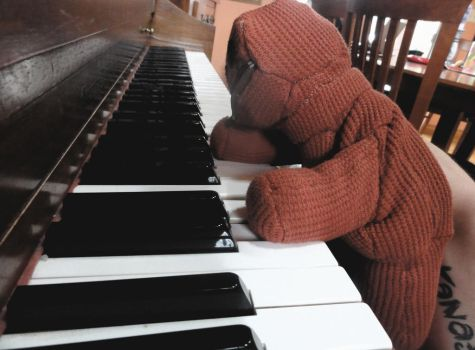 Plushie Patchwork Puppet Playing Piano by b-spoke