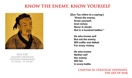 Sun Tzu - know the enemy and know yourself by YamaLama1986