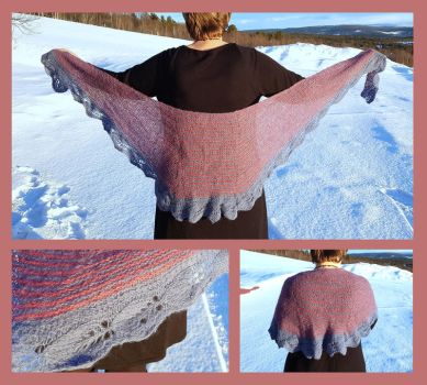 Lovely leaf shawl - vintage pink by KnitLizzy
