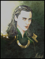 Another Loki Portrait (Painted) by MellorianJ