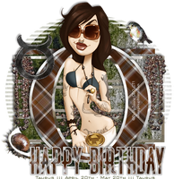 PinUp Toons - Happy Birthday Taurus by CreativeDesignOutlet