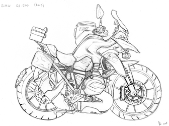 BMW R1200GS (2012) caricature sketch by RonvdS