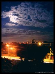 Full Moon Over Town by BlueAngelX