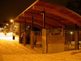 Snowy Bus Stop by Noobai