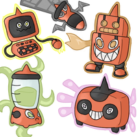 Five New Rotom Forms by Kirazy