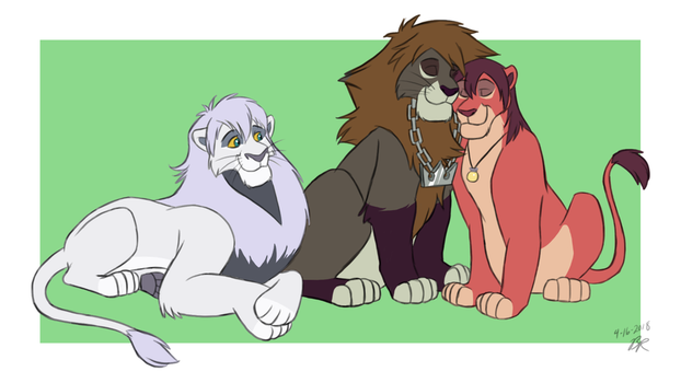 KH Trio as Adult Lions by thieviusracoonus