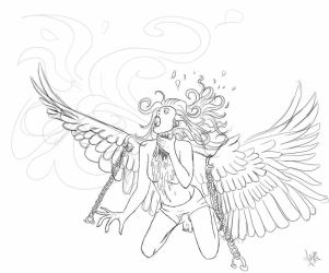 Angel sketch ~  by iSweetSophie