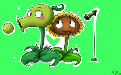 PvZ:Peashooter and Sunflower by Crazy-Matroskin55