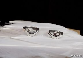 'Dragon pair', handmade sterling silver rings by seralune