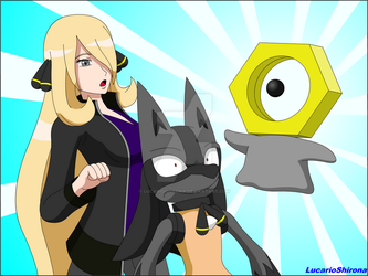 Cynthia and Hypon - Discovering the Meltan by LucarioShirona