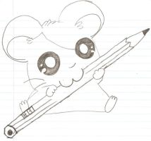 Hamtaro chewing on a pencil by Bait12345