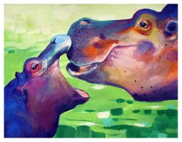 Hippos by TooMuchColor