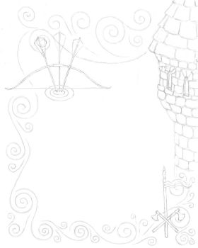 Archery scroll WIP by sariphine13
