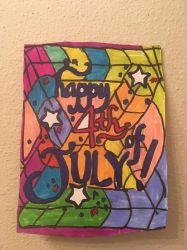 Happy 4th Of July Logo Art Colorful Design Drawing by NWeezyBlueStars23