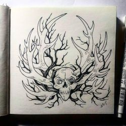 Instaart - Skull, horns and branches by Candra