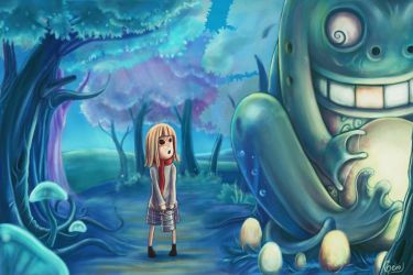 little girl and her new frend by gerokun