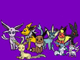 the eeveelutions together  by barnowlgurl23