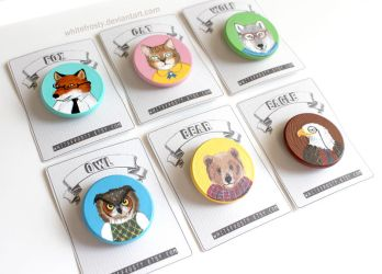 Animal Portrait Badges by whitefrosty