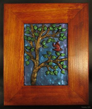Bird in the Tree -- Polymer Clay Wall Art by kaikaku
