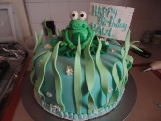 froggy birthday cake by panda-odono