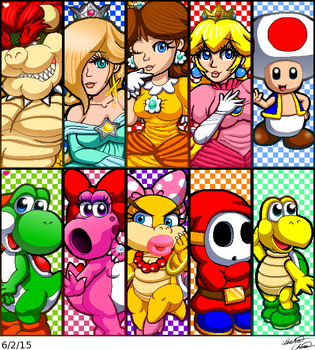 Miiverse Mario characters drawing collage by Bowser2Queen