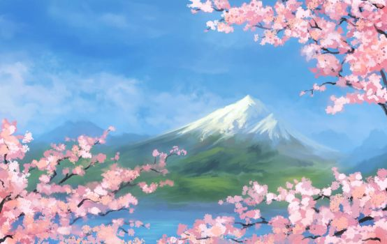 Sakura Mountain by cubehero