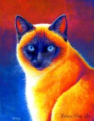 Colorful Siamese Cat Painting by rebeccawangart