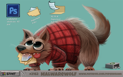 Daily Paint 2162. Malwarewolf by Cryptid-Creations