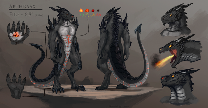 Arthraax reference sheet (commission) by ThemeFinland