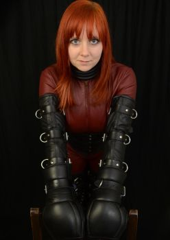Karina in Leather Catsuit and a Five Ring Collar 2 by BritBastard
