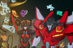 Windblade and Starscream Commission for Valong by ConstantScribbles