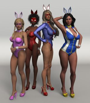 Peril Protectors as Bunny Girls by JGalley0