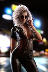 Gina in leather at night by FranPHolland