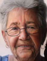 Mixed media portrait of my Grandmother ( detail ) by AtomiccircuS
