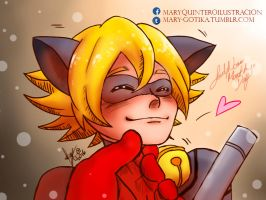 Ladynoir month day 1: Chin Scratch by Mary-Gotika