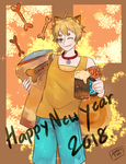 Happy new year 2018 Dog by Usagiwasan