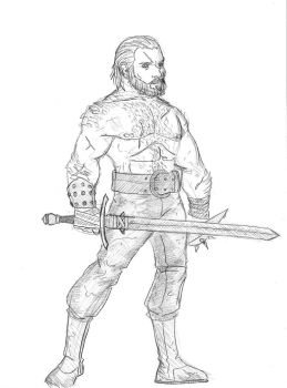 Barbarian with a Spiky Buckler by SamwiseTheAwesome