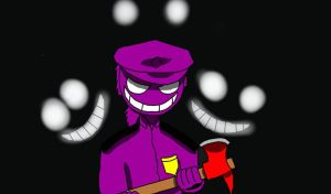 smiling after he choped the animatronic's down  by EricfreddyFazbear