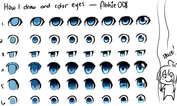 How I Draw And Color Eyes by Abhie008