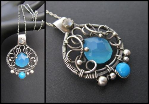 blue stones necklace by annie-jewelry