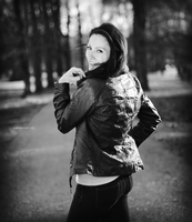 Ivana, sunset in park BW I by Zavorka