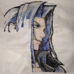 Dissidia Sephiroth Cross Stitch Project (WIP) by guineapiggin